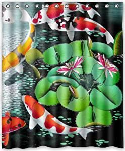 HOT Design Japanese Koi Fish Shower Curtain 60w X 72