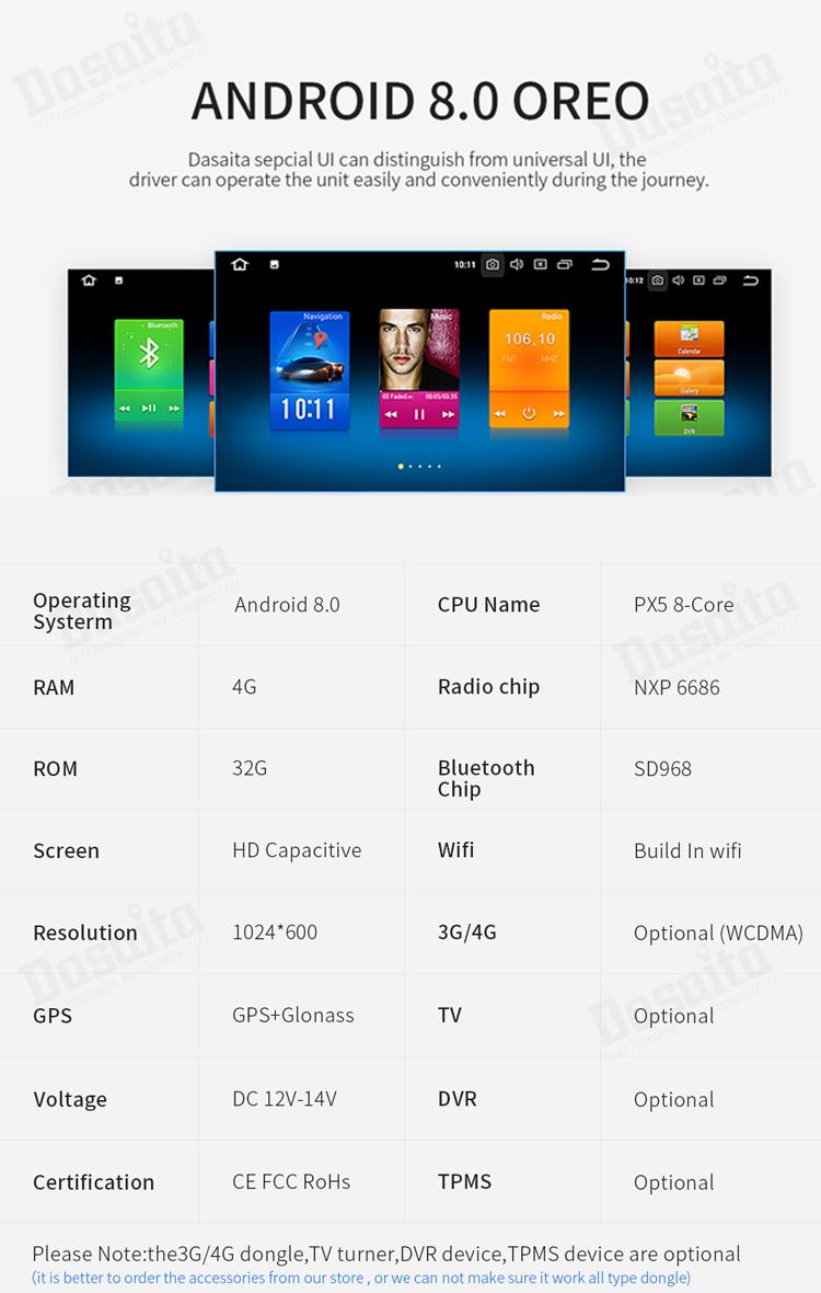 Dasaita Android 8.0 Car DVD player 10.2 inch IPS màn hình 1 din phổ hệ thống định vị GPS Bluetooth đài phát thanh DSP stereo máy ảnh