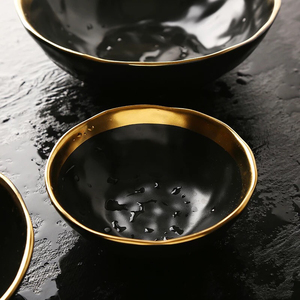 ceramic dinnerware gold plated bowl set / porcelain cereal pottery bowl