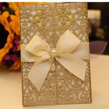 Romantic and Flower Laser Cheap Gold Glitter Paper Wedding Invitation card