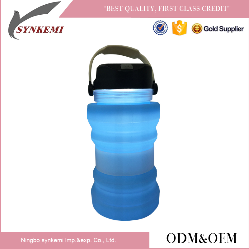 Outdoor foldable silicone water bottle with led light