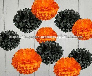 halloween decorations garlands tissue paper pom poms orange and black for weddingbaby shower - Halloween Pom Poms