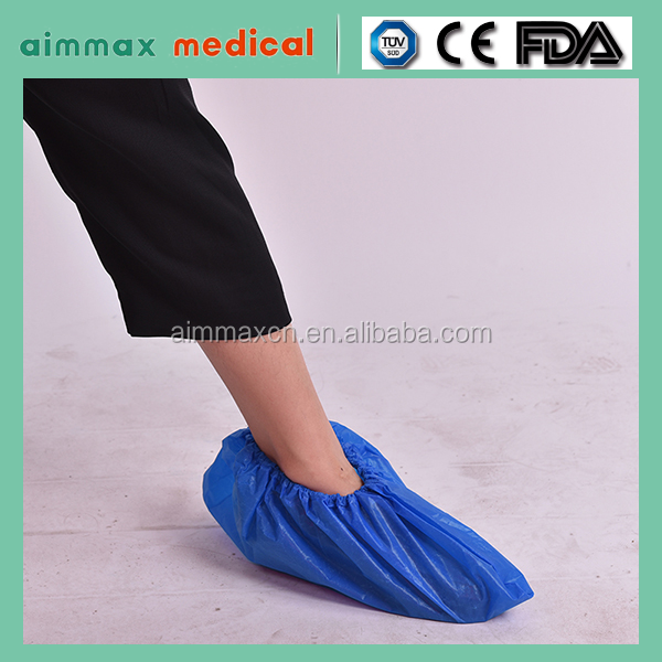 disposable machine made shoe cover/Cheap Non Woven Medical Plastic Waterproof Reusable Disposable PE Shoe Cover/Boot Cover