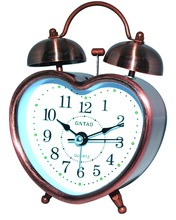 arabic numbers alarm clock, heart shape retro alarm clock with low night light