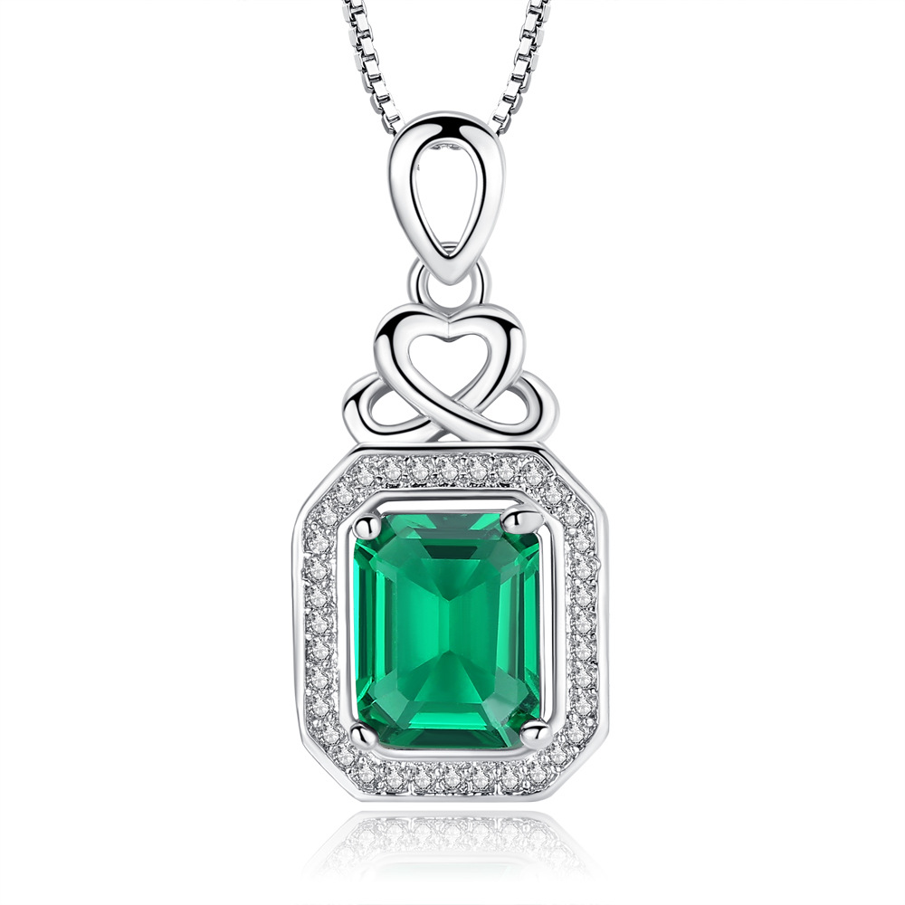 NEW Luxury 6ct Created Emerald Pendant necklace Fashion Jewelry