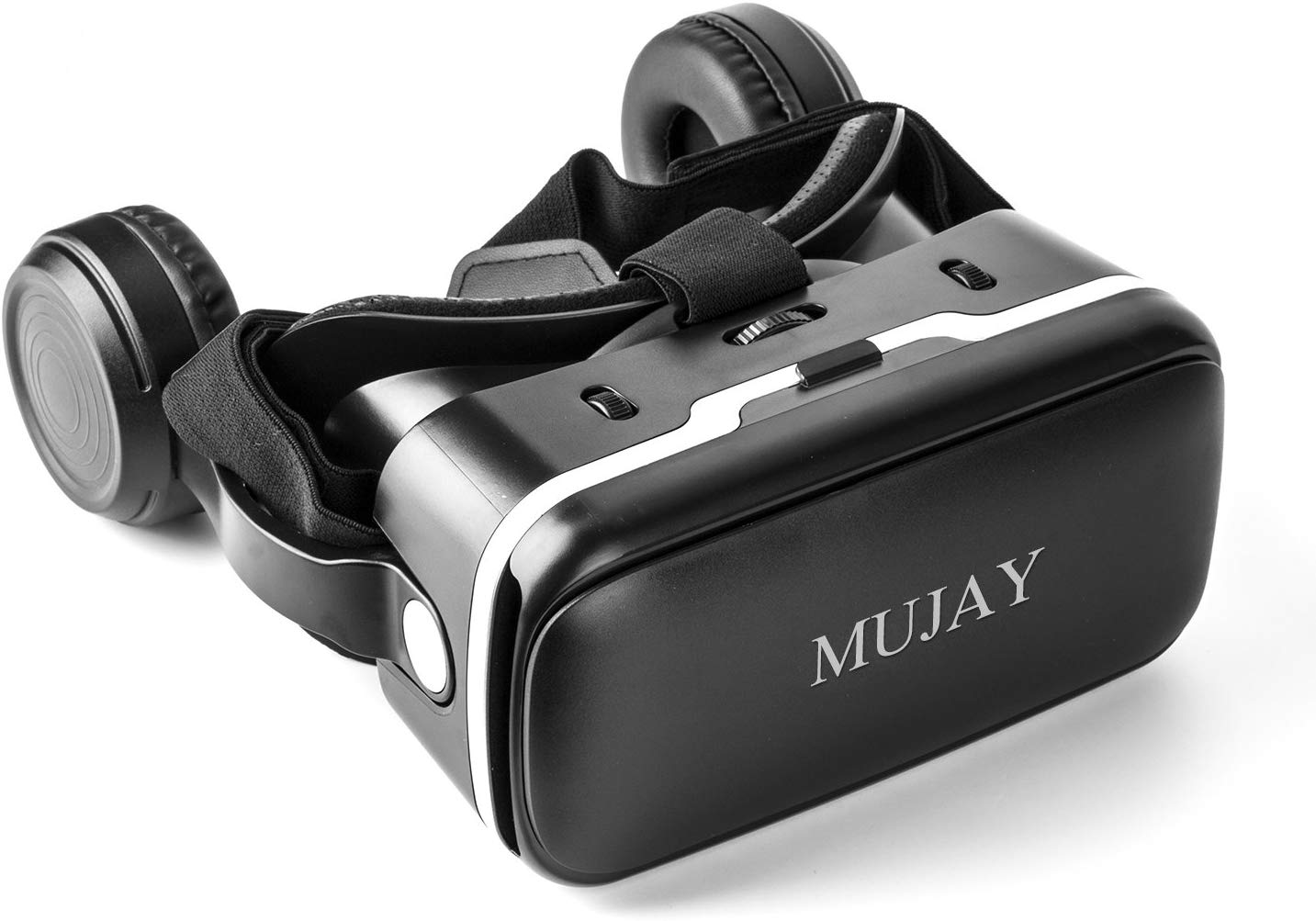 MUJAY 3D VR Headset Technology - Best Virtual Reality Experience For Games & Video - Watch Movies In Breathtaking HD With Your Smartphone Fit Glasses & Helmet - Goggles For Your Smartphones