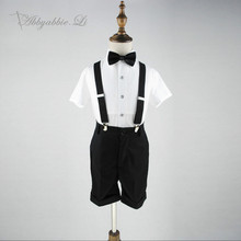 Baby Boy Bow tie Short Sleeve Shirt Mid knee Shorts Braces Set 4pcs Overalls Children Formal