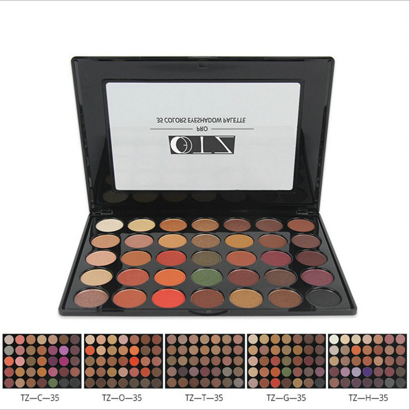 TZ 35 colors Makeup Eyeshadow Palette Make up Easy to Wear and long-lasting with Brushes inside Professional Cosmetic