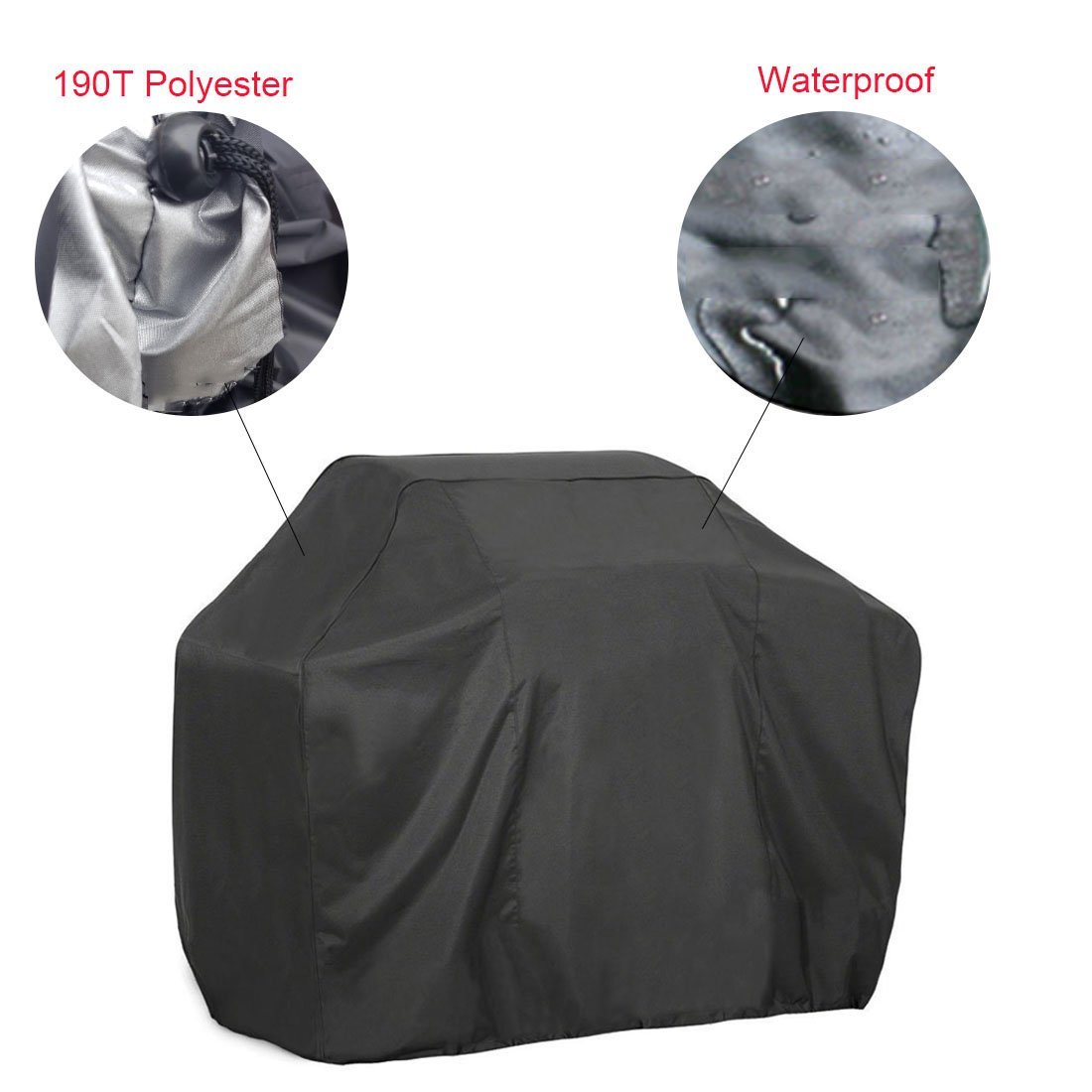 Black Waterproof Outdoor BBQ Grill Covers Gas Grill Cover