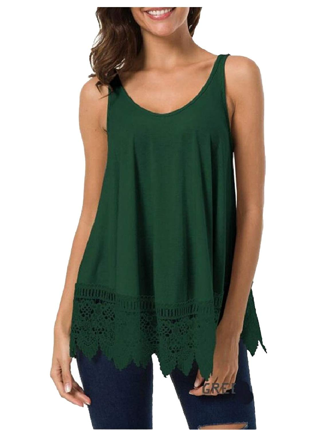 M/&S/&W Womens Loose Casual Summer Pleated Flowy Sleeveless Camisole Tank Tops