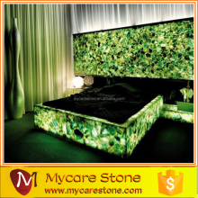 elegant green backlit agate wall panel for bedroom