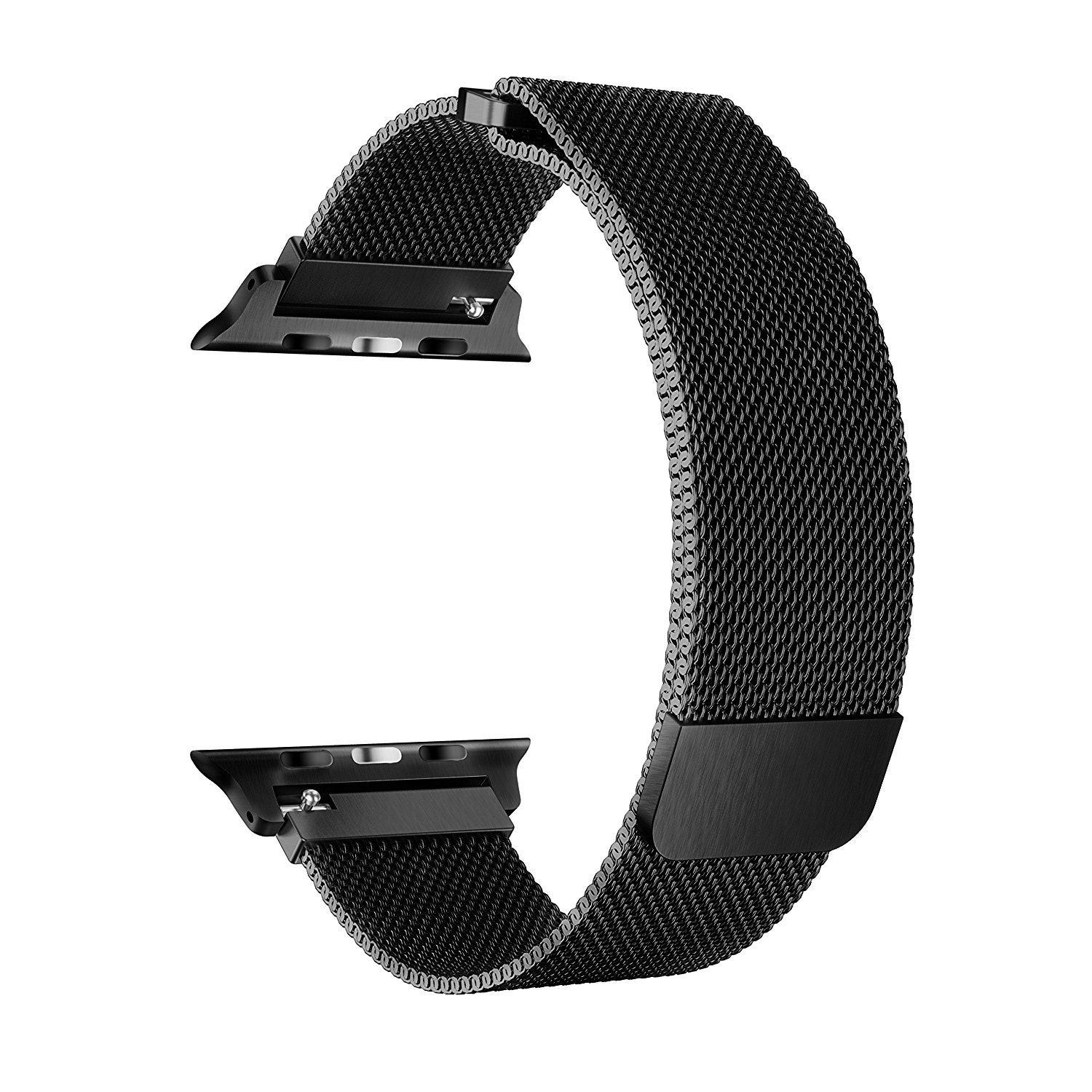 BRG for Apple Watch Band 38mm 42mm, Stainless Steel Mesh Milanese Loop with Adjustable Magnetic Closure Replacement iWatch Band for Apple Watch Series 3 2 1 (black, 38mm)