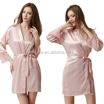 617c54b2eead8 Wholesale Cheap Satin Robes Cream Plain Long Sleeve Lace Nightwear Short  Pajamas Tops For Ladies Nighty