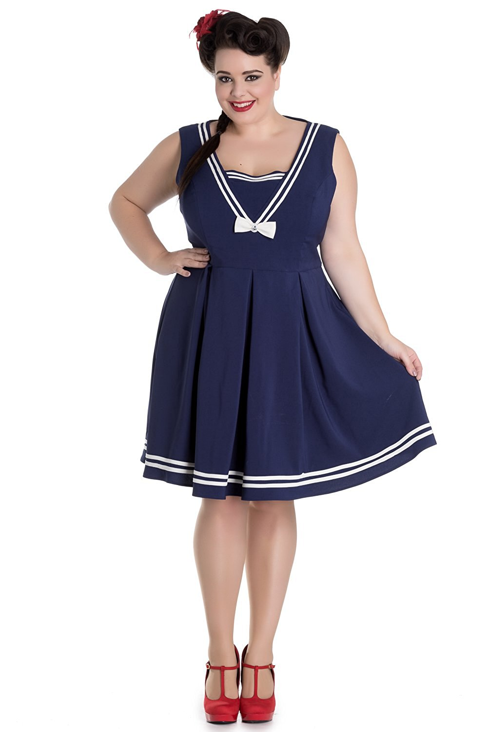 c42939781 Get Quotations · Hell Bunny Plus Size Kawaii Navy Sailor Nautical Love Mini  Dress