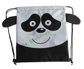 promotional cute panda design drawstring backpack bags for kids with