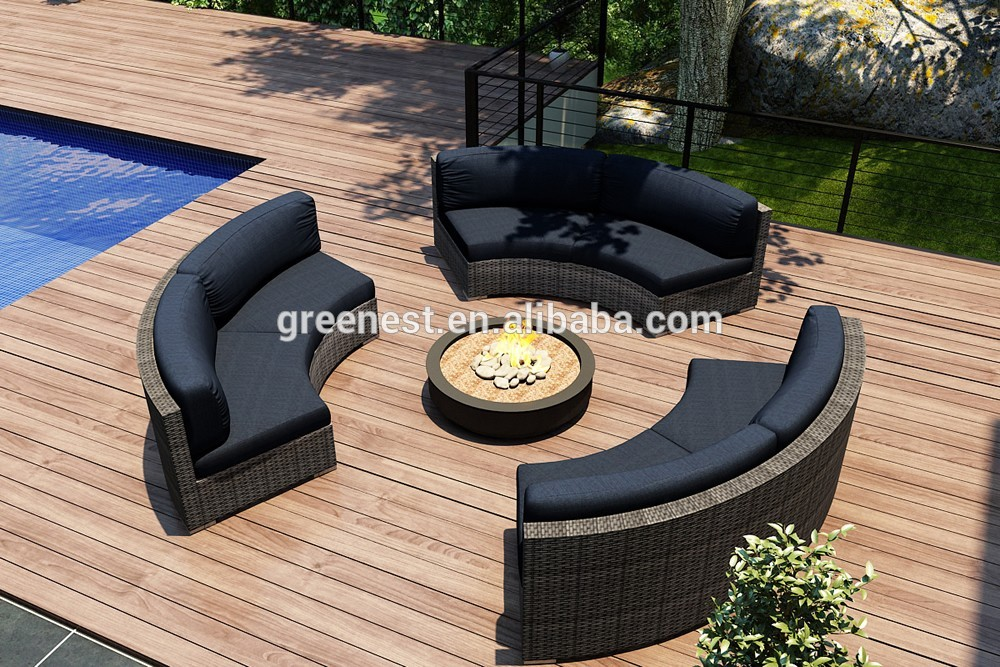 Green plastic rattan woven patio furniture