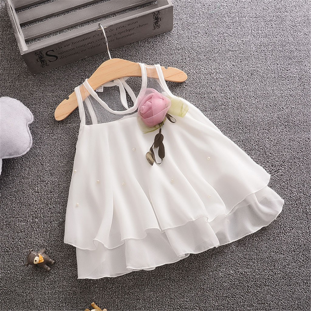 59763d335e0a9 baby summer dress Baby Girls Sleeveless Solid Tulle Flowers Party Princess  Dresses christening Clothes robe de noel bebe fille
