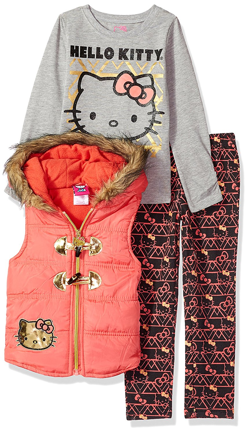 5df3f0c9a Get Quotations · Hello Kitty Girls' Little 3 Piece Tee, Vest, and Legging  Set