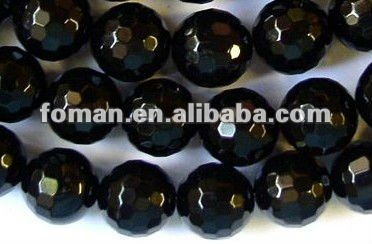 12mm round faceted black agate beads jewels semi precious stones