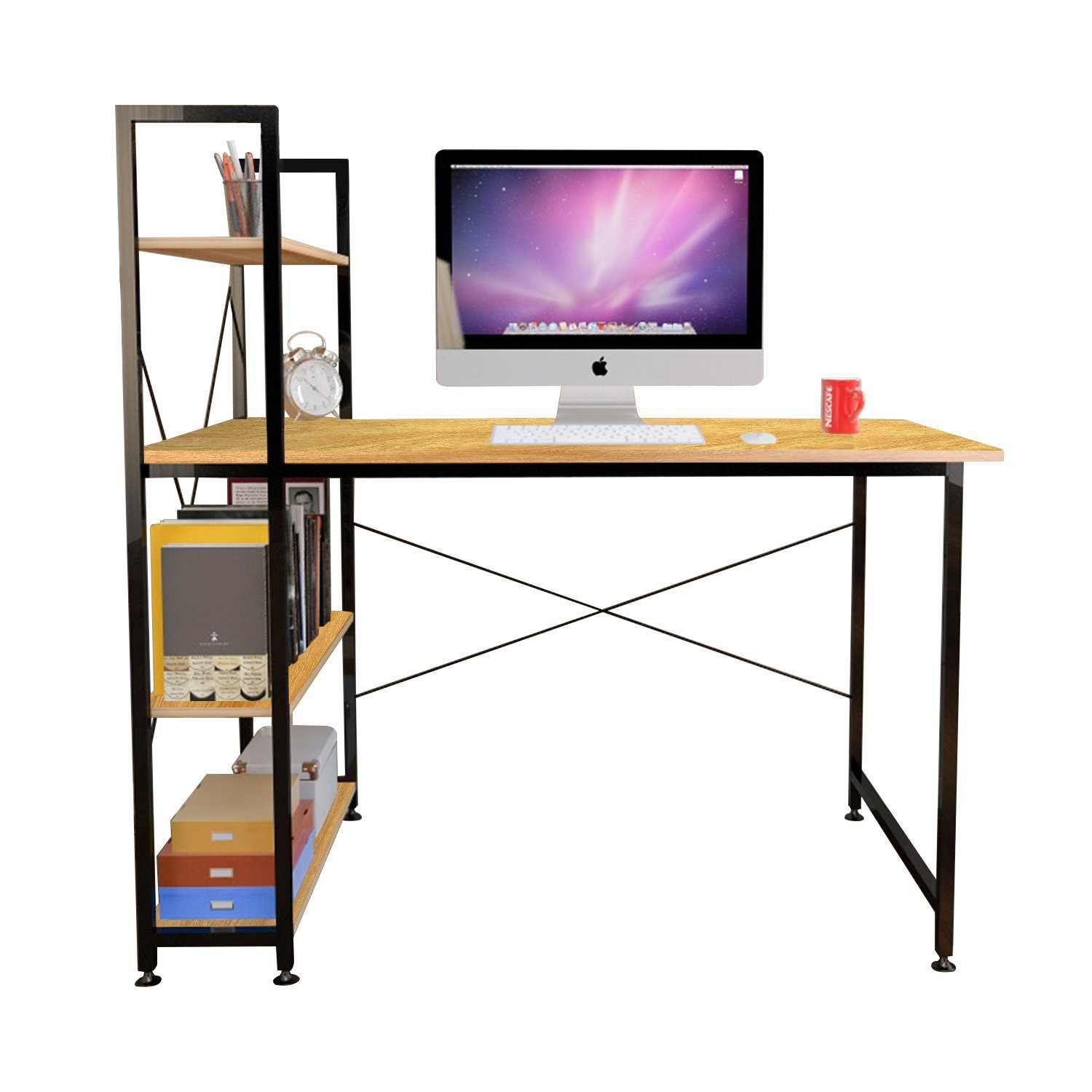 Jerry & Maggie - Computer Desk Lap Desk Table With 4 Tier Steel & Wooden Shelf Rack Stand Desk for Living room Bedroom Office Personal Work Space - Wood Tone