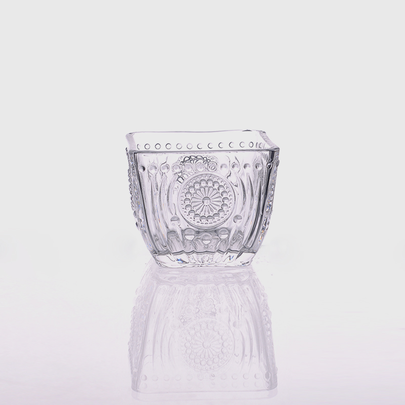 Elegant embossed clear glass candle holder candy jar tableware with lid home decoration