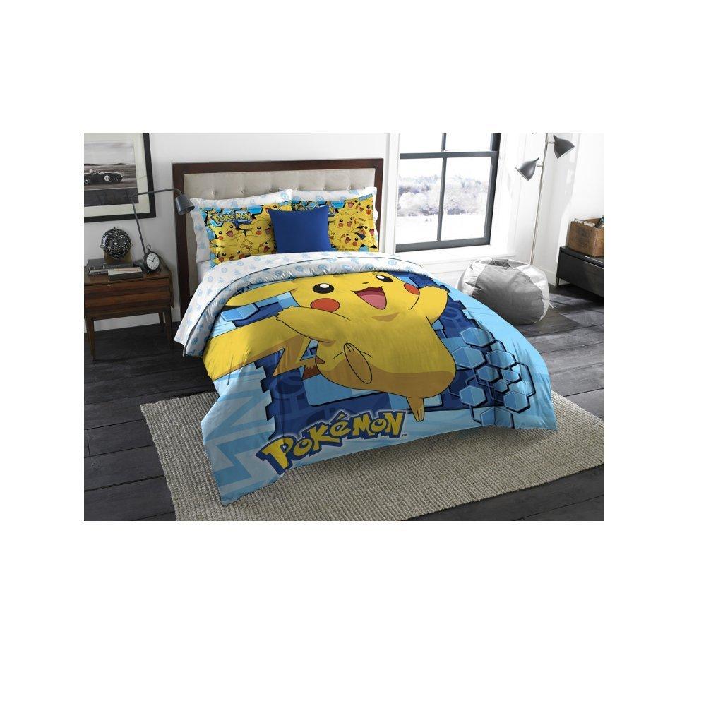 3 Piece Kids Pokemon Pikachu Comforter Twin/Full Size Set, Blue Yellow Cute Pokemon Character Bedding Bright Colors Polyester Pattern