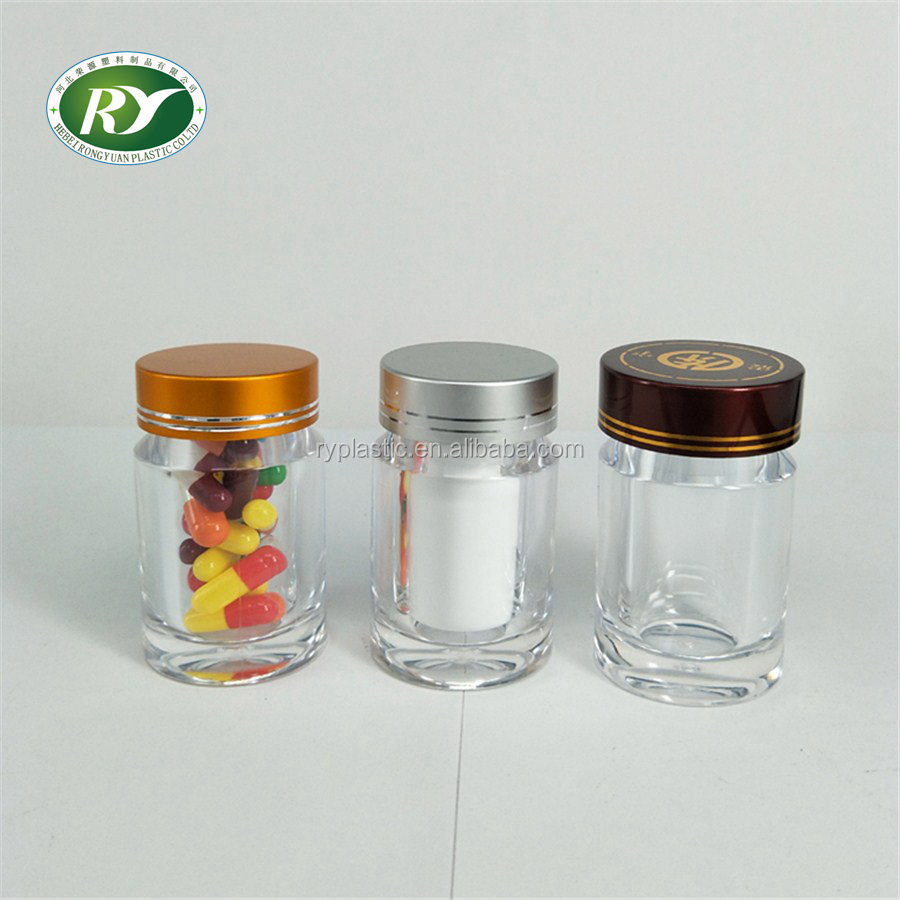 PET/Acrylic empty plastic pill capsule bottle with cap& seal
