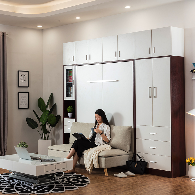 Smart Furniture Plywood Double Vertical Wall Mounted Bed