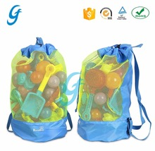 Mesh Beach Bag Tote Durable Sand Away Drawstring Beach Backpack Swim and Pool Toys Storage Bags Pack