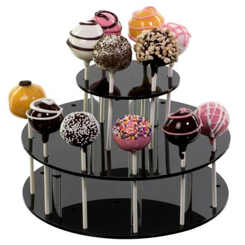 Aangepaste Transparante Clear PMMA Plastic Acryl Ronde Tiered Cake Pop Stand