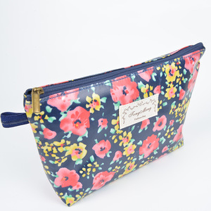 wholesale small order stock Floral zipper bulk waterproof printing cosmetic bag