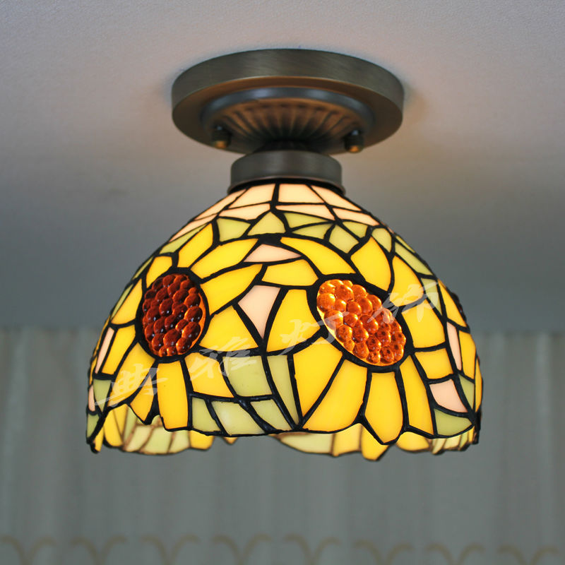 6 Inch Sunflower Tiffany Stained Glass Ceiling Lights