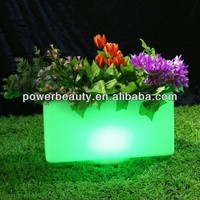 outdoor plastic waterproof metal planters with led lights