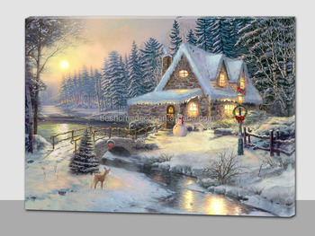 Winter Scenery Canvas Wall Art Print With Led Light Up Led