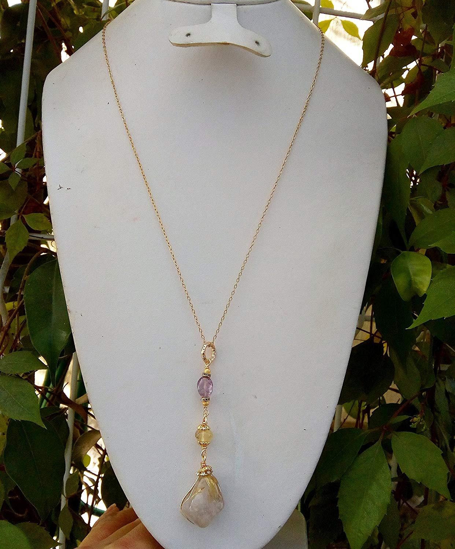 Handmade, Gemstone, Necklace, Amethyst quartz, lodolite, rutilated Quartz, and 14k gold plated chain