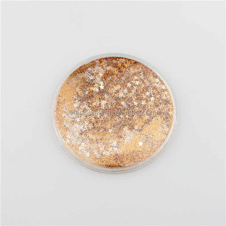 Personalized Orange Glitter Quicksand Round Makeuep Promotional Mirror Gifts