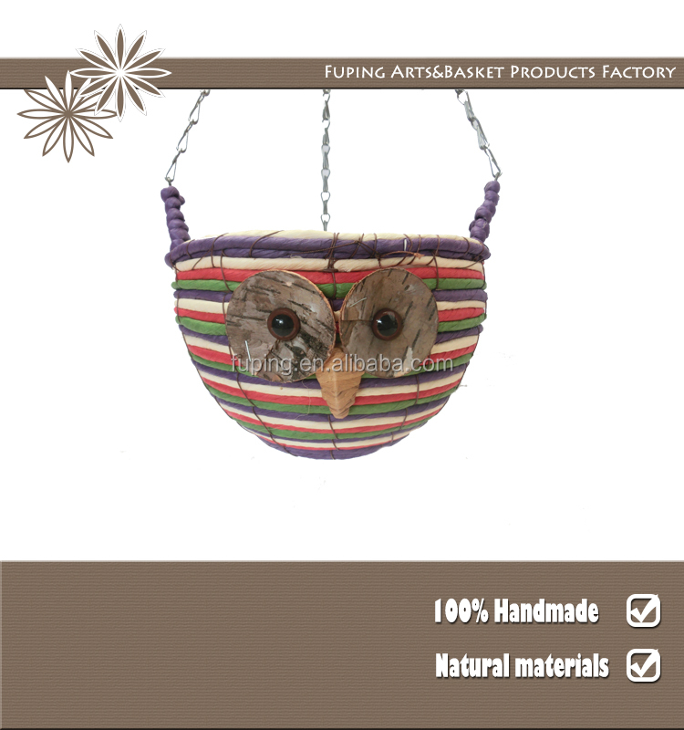 Wholesale owl Paper rope hanging flower planter pot