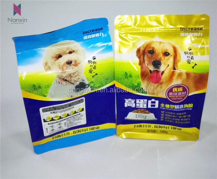 customized flat bottom pet food packaging  dogs food bag  with zipper