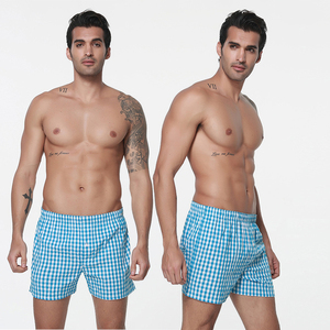 Wholesale Men's Woven Boxer Shorts Grid Beach Boxer