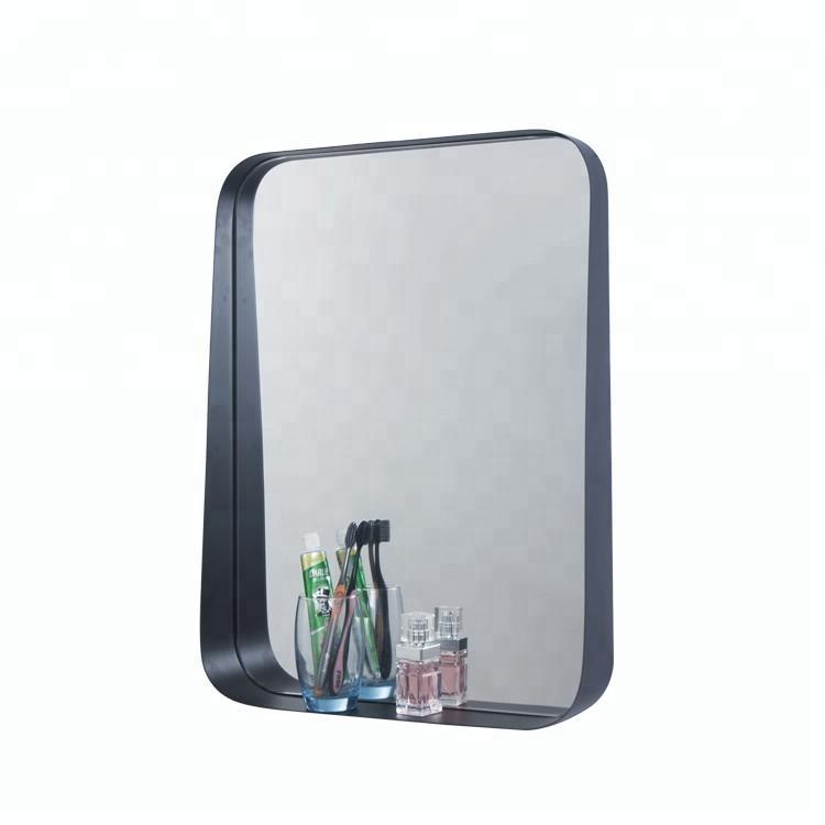 Black Round Corner Bathroom Frame Mirror With Shelf Buy Frame