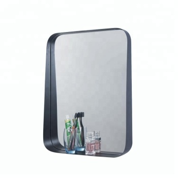 Black Round Corner Bathroom Frame Mirror With Shelf Buy Frame Mirror Black Bathroom Mirror Bathroom Mirror With Shelf Product On Alibaba Com