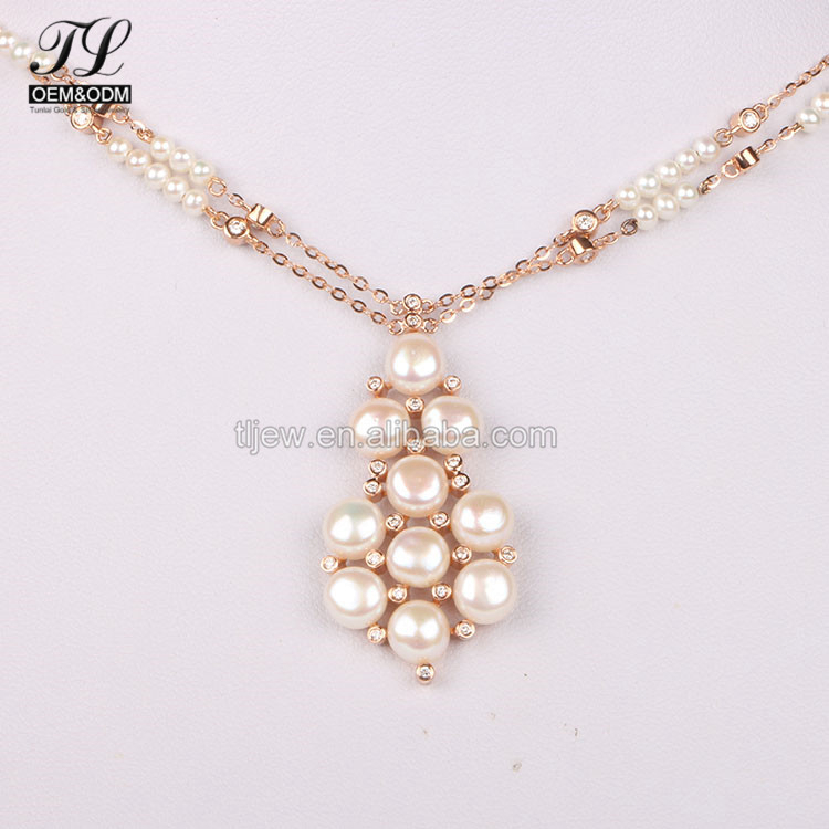OEM ODM american fashion tahitian pearl necklace+solid gold necklace for womens