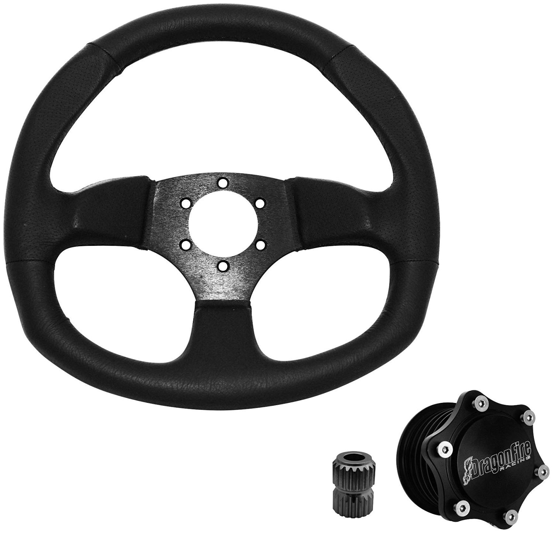 Dragonfire Racing Quick-Release Steering Wheel Kit - D-Shaped - Vinyl 04-2003