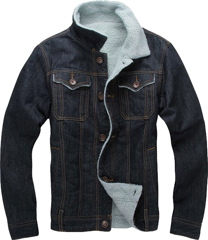 XQS Mens Long Sleeve Warm Sheep Faux Leather Coat Jacket Lamb Wool Lined