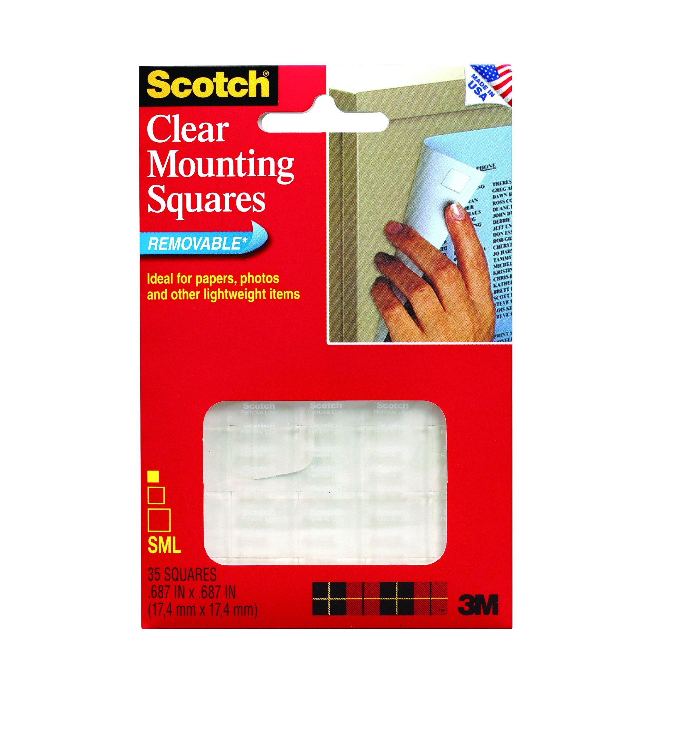 Scotch 859 Mounting Squares, Precut, Removable, 11/16-Inch x 11/16-Inch, Clear, 35 per Pack (MMM859)
