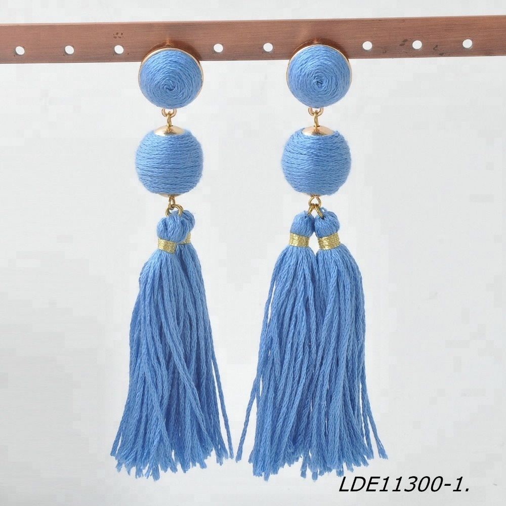 Boho custom women's fashion pom pom ball tassel earrings thread wrap ball yarn tassel drop earrings
