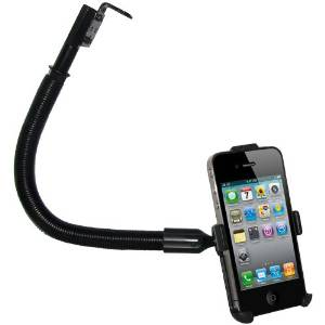 Amzer AMZ92941 18-Inch Aluminum Gooseneck Floor Mount iPhone 4/4S - Mount - Retail Packaging - Black