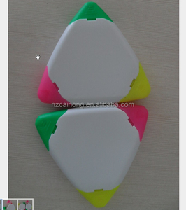 CH-6209 circle/triangle shape highlighter 3 different inks and triangle shaped highlighter pen