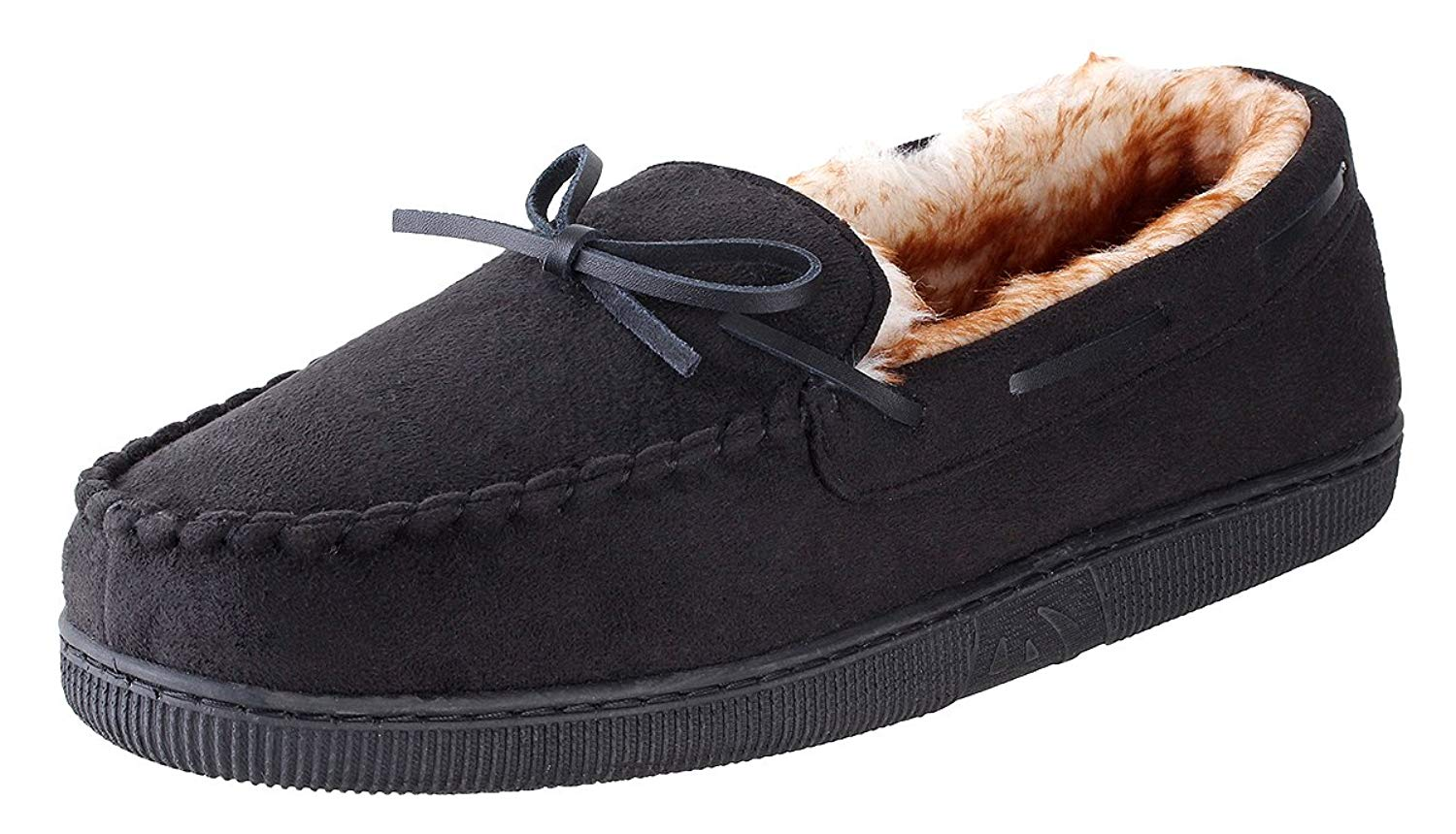 Urban Fox Franklin Moccassin Slippers Mens | Micro-Suede | Rubber Sole | Faux Fur Lining | Comfortable Indoor and Outdoor Slippers | Slippers For Men | Slip-On Slippers For Men