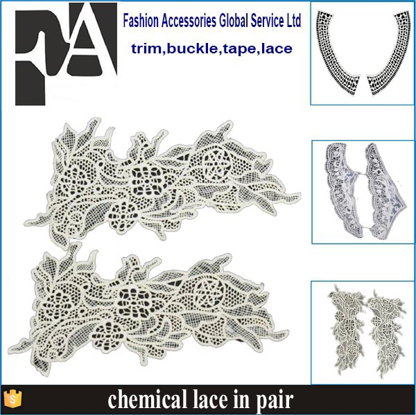 Collars embroidery design factory price raw white collar lace applique